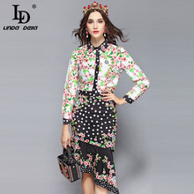 LD LINDA DELLA 2019 Fashion Runway Spring Skirt Sets Womens Floral Print Blouses + Sexy Asymmetrical Skirts Two Pieces Set Suit
