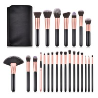 Professional 24 Pcs Wooden Makeup Brushes Set With Bag For Beauty Cosmetic Tools Kit Foundation Powder Eyeshadow Eyebrow Brushes