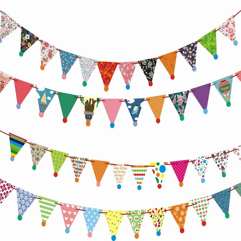 Colorful Paperboard Bunting Flags Happy Birthday Banners