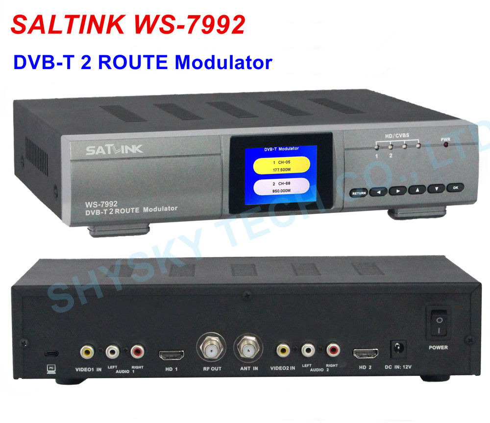 Modulateur de WS 7992 SATLINK 100% modulateur d'entrée 2 voies modulateur HD DVB T RF|original satlink|modulator hd|dvb-t modulator - title=