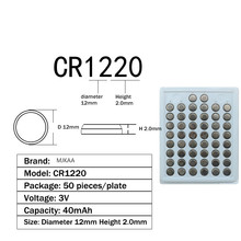 200pcs 100% New CR1220 3V Lithium Button Cell Batteries Watch Coin Battery Car Remote Control ECR1220 LM1220
