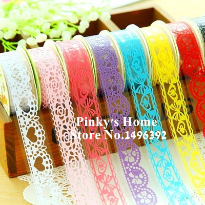 1pc Candy Colors Lace Tape Decoration Roll DIY Washi Decorative Sticky Paper Masking Tape Self Adhesive Tape Scrapbook Tape diy cotton lace self adhesive tape for decoration coffee white