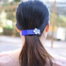 Women headwear 2017 flower hair clip blue elegant barrette cute rhinestone accessories for women