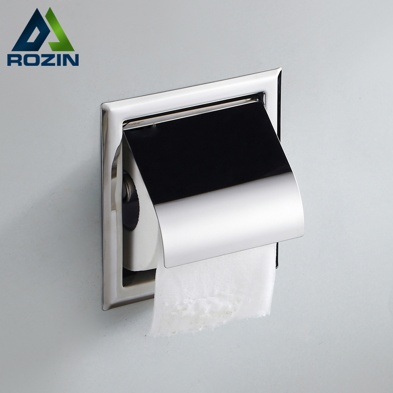 Free Shipping Square Embedded Toilet Paper Holder Brass Bathroom Tissue Box Wall Mounted free shipping antique toilet paper holder wall mounted waterproof roll paper tissue box brass bathroom accessories