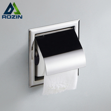 Free Shipping Square Embedded Toilet Paper Holder Brass Bathroom Tissue Box Wall Mounted