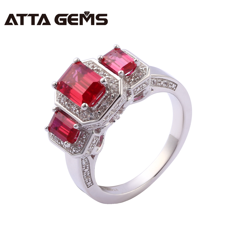 Ruby Sterling Silver Women Wedding Ring 5.8 Carats Created Ruby Engagement Romantic Silver Rings S925 Fine Jewelry Brand red ruby sterling silver women wedding band silver ring 2 1 carats created ruby gemstone engagement romantic style rings