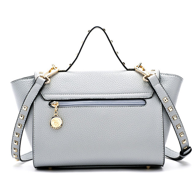 Doodoo New Style Women's Leather Studded Rivets Trapeze Satchel Tote Bag Purse Top Handle Handbag Shoulder Crossbody Bag