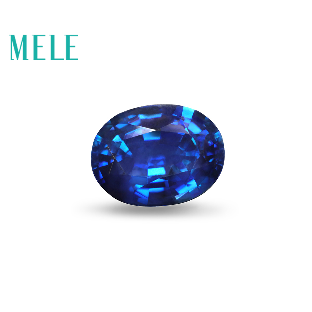 MELE Natural Sapphire loose Gemstone for Jewelry making,5X7mm Oval cut 1.1ct color fire with high quality Diy stone