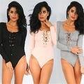Señoras de las mujeres Acanalado Lace up Body Playsuit Leotardo ropa Crop Top Mono de una sola pieza de las mujeres