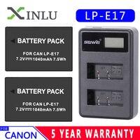 1040 мА/ч, LPE17 LP E17 LP-E17 Батарея + ЖК-дисплей USB Dual Зарядное устройство для цифровой однообъективной зеркальной камеры Canon EOS 200D M3 M6 750D 760D T6i T6s 800D 8000D ...