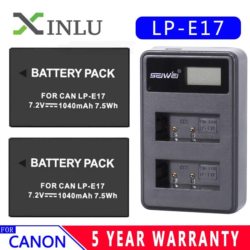 1040mAh LPE17 LP E17 LP-E17 Battery LCD USB Dual Charger for Canon EOS 200D M3 M6 750D 760D T6i T6s 800D 8000D Kiss X8i Cameras