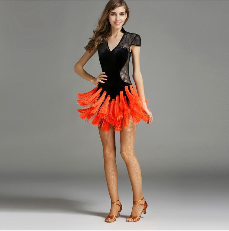 Concours de salsa latine robes Sexy gland femmes robe latine robe de danse Tango