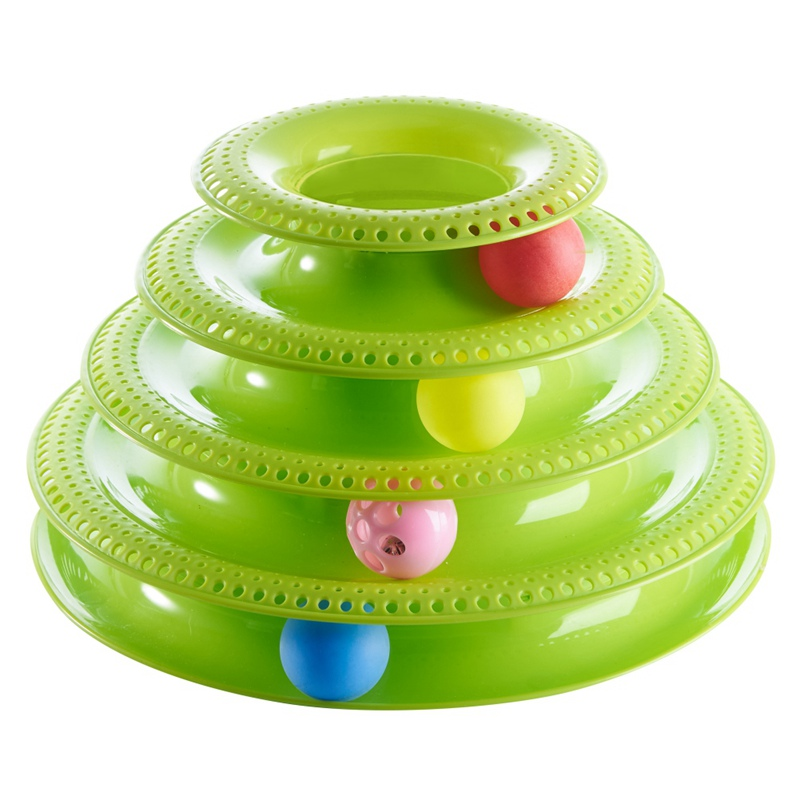 Mascotas juguetes interactivos gatos tres niveles giratoria mascota pista intelectual Torre divertido gato juguete placa 4 bolas 3 bolas