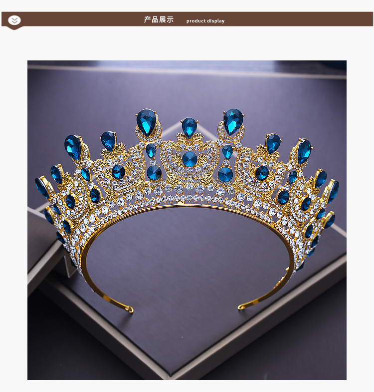 Crystal Tiara Rhinestone Crown Gold Princess Queen Birthday Prom Pageant Tiaras  Stone Tiaras Gold
