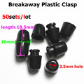 50pcs Black DIY Necklace's breakaway plastic clasps Plastic Closure 2.0mm hole for silicone jewerly