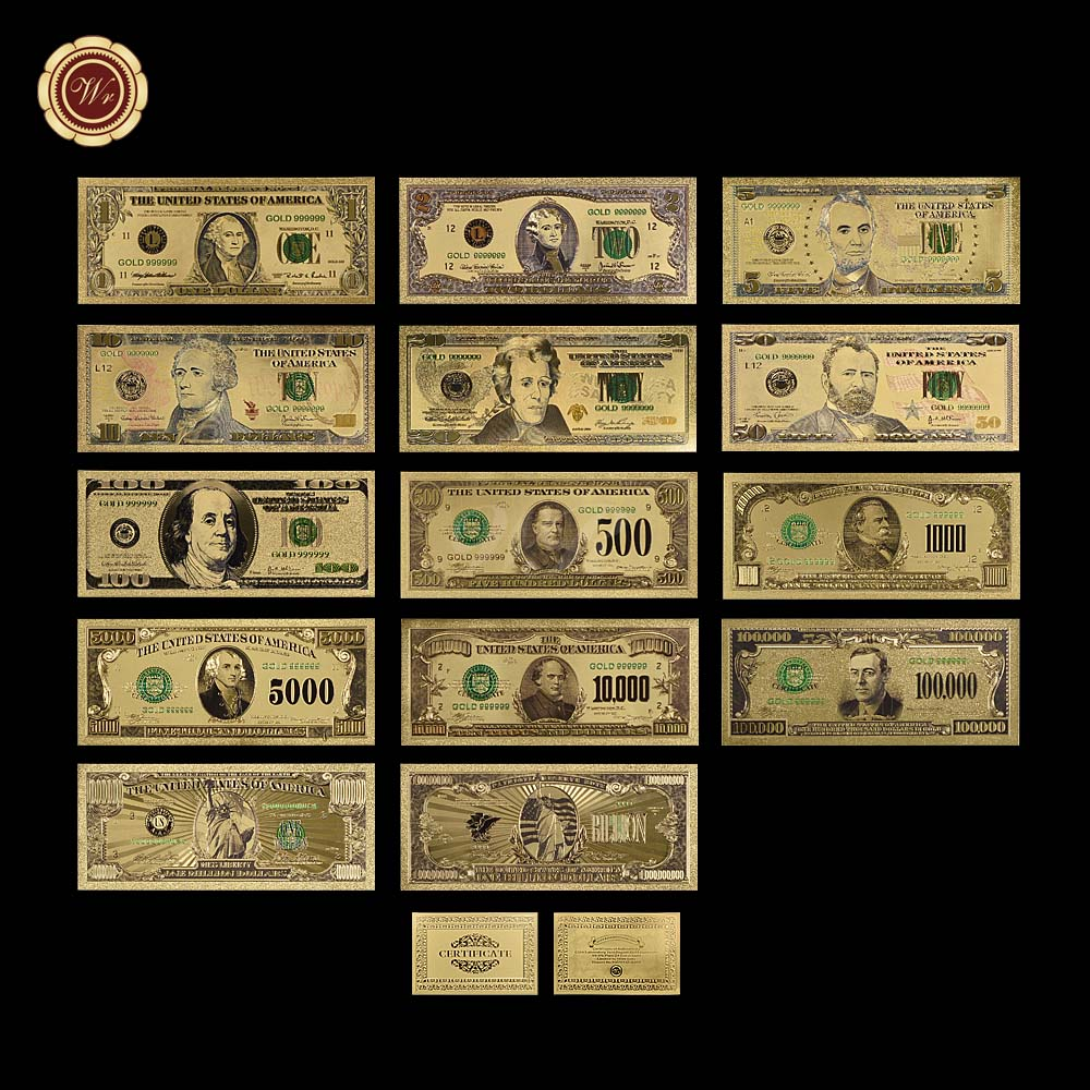 WR 14 Color USA Gold Banknotes 1-1 Billion Dollar World Paper Money Currency America BILL Notes fake money banknote for Gift