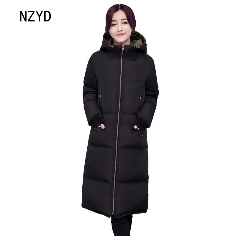 2017 Winter Women Jacket Down New Fashion Hooded Thick Warm Medium long Cotton Coat Long sleeve Loose Big yards Parkas LADIES323 2017 winter classic fashion fur hoodie coat jacket women thick warm long sleeve cotton coats student medium long loose overcoat