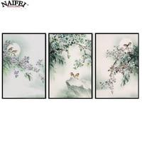 3 Pieces Bird Flower Diy Diamond Painting Cross Stitch Pattern Diamond Embroidery Full Drill Home Decor