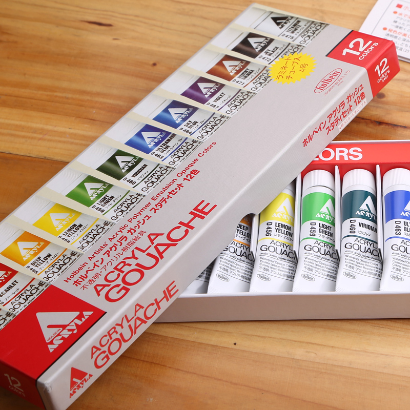 Freeshipping New product Holbein expert-level acrylic resin pigment  12color 11ml Waterproof crack holbein colour library