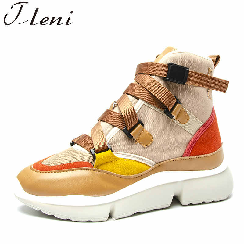 06d3ab2b1 Tleni Sneaker Shoes Women Spring Autumn Sneakers Buckle Strap High Low Top  Lady Fashion Sneakers Platform