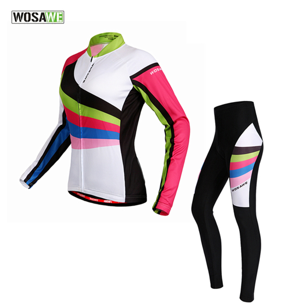 WOSAWE Brand Spring & Autumn Womens Cycling Long Jerseys 4D Padded Pants Bicycle Wear Cycling Clothing Sets Top Quality