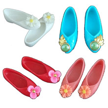 NEW Ancient Flat Shoes Or Blue Crystal shoes Cute Mixed Style Colorful Platform Shoes For Barbie Doll Accessories Kids Gifts(China)