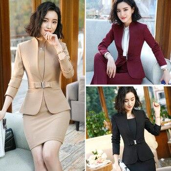 IZICFLY Formal Office Dress Set for Womens Blazers long Sleeve Uniform Elegant Feminino Business Jacket Suit Plus Size