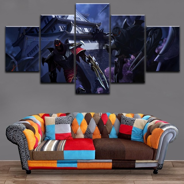 Modern Home Decorative Painting 5 Panels Zed League Of Legends Wall ...