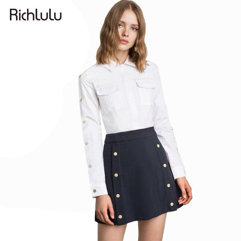 RichLuLu Women Shirt 2017 Rivet Office Lady Solid White Blouse Turn Down Collar Long Sleeve Pockets