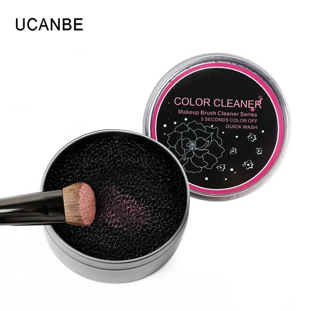 Door Nanda Praktische Make-Up Kwasten Cleaner Tool Oogschaduw Contour Poeder Schoon Maquiagem Spons Cleaner Box Remover Kleur Schakelaar