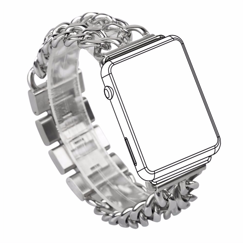 Cowboy Link Bracelet Chain Stainless Steel  Watch Band Strap For Apple Watch Series 1/2 Wristband