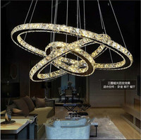 Hot sale Diamond Ring LED Crystal Chandelier Light Modern Chandelier Circles 100% Guarantee +Free shipping