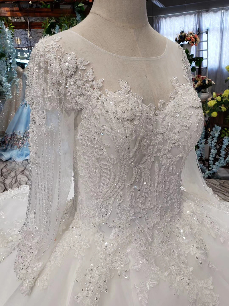 LS53710-1 luxury wedding dresses long sleeve o neck open back ball gown bridal dress up gowns 2019 promotion vestido de noiva (9)