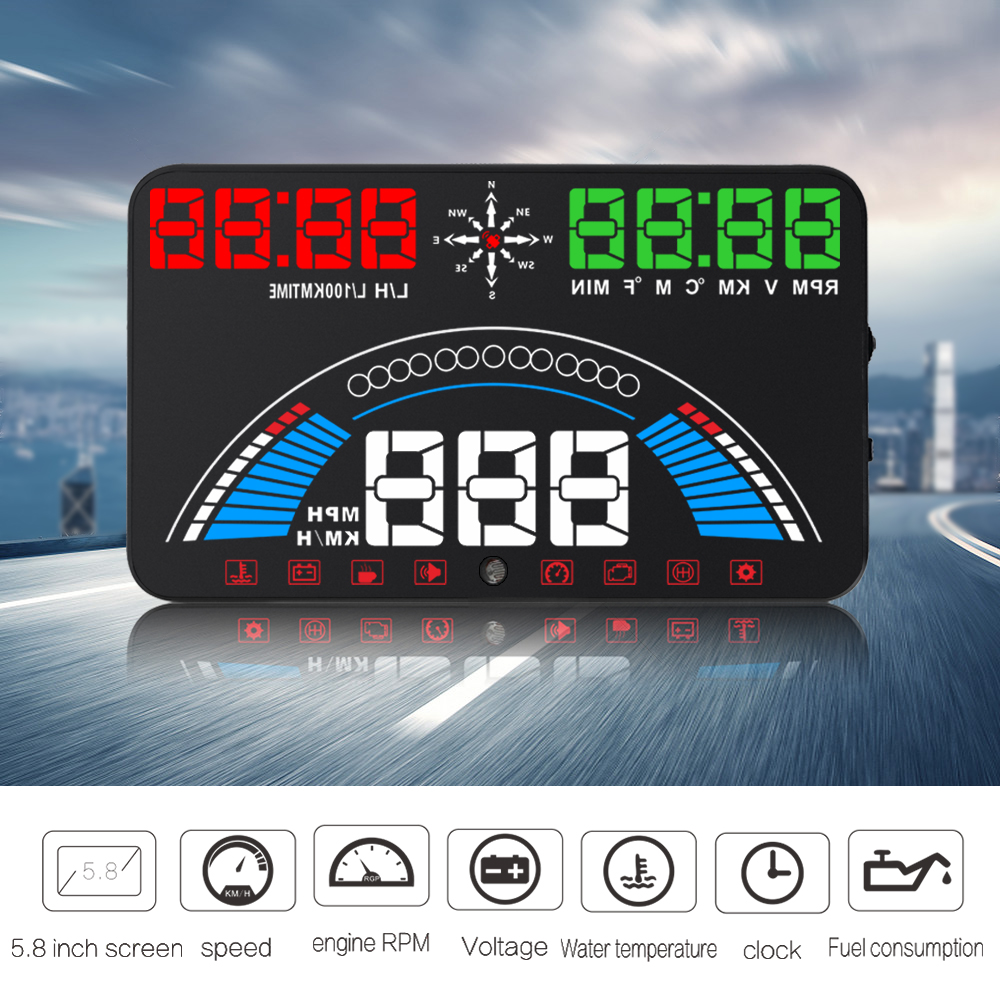 XYCING S7 Head Up Display OBD2 GPS Speedometer Car HUD Windscreen Projector Digital Meter 5.8 Inch HUD Display GPS Satellites a8 car hud head up display car speedometer 5 5 inch windscreen projector obd2 code reader speed alarm voltage mph km h display