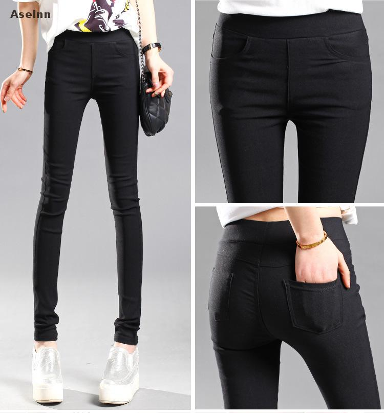 bd731126f35 Aselnn 2019 Spring New Fashion Women Pencil Pants Casual Elastic Waist  Skinny Trousers Plus Size Black White Stretch Pants-in Pants   Capris from  Women s ...