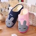 SexeMara Marca 2016 Mujeres y hombres Zapatillas de Casa de Interior Dormitorios Casa de Dibujos Animados Zapatos de Invierno Cálido Adultos El Conejo de Algodón zapatos