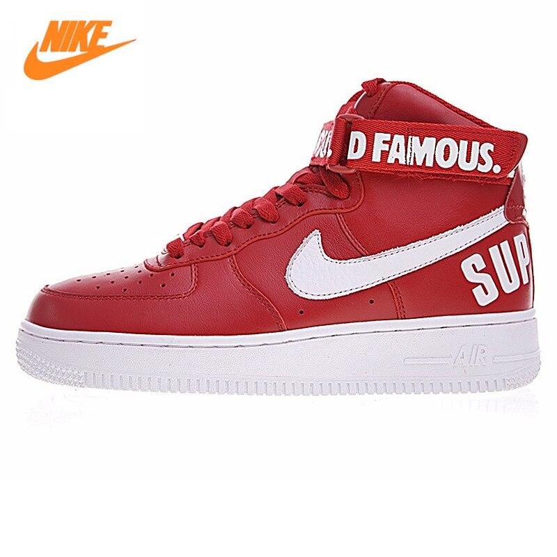 Nike Air Force 1 Supérieur Mixte Blanc-rouge Hommes de Basket-Ball  Chaussures 698696