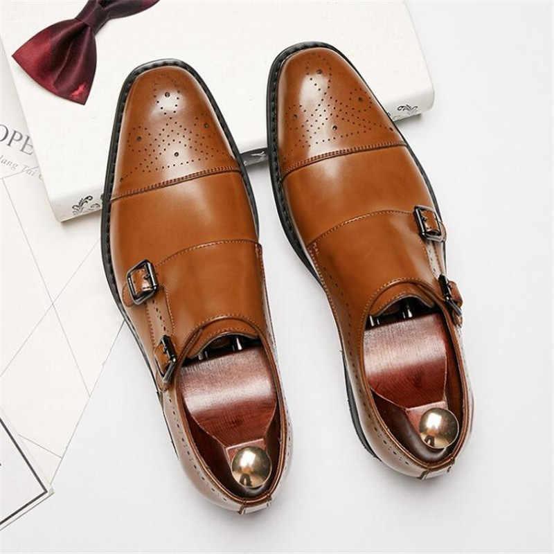 Oxford gentleman chaussures moine de mariage robe chaussures boucle sangle marque affaires Brogue hommes Nouvelle luxe en cuir sculptée véritable de wvm8nN0O