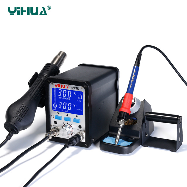 16 PCS/Lot 110V/220V 2 In 1 Yihua Soldering Station 995d Hot Air Gun Soldering Iron Motherboard Desoldering Welding Repair dhl yihua 995d soldering station used for motherboard repair tools 1pc