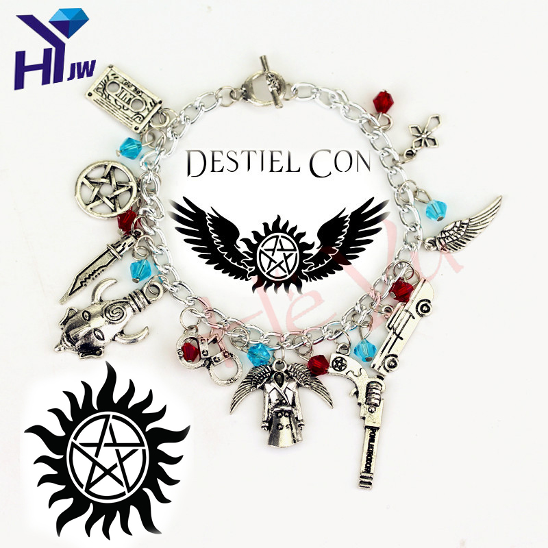Movie Jewelry Supernatural Charm Vintage Bracelets Fashion Women Jewelry Multilayer Dean Sam Davils W inchester Gifts Souvenir