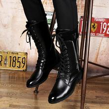 Point Toe High Top Lace-up Chaussures Hommes En Cuir Hiver Men Black Leather Long Shoes Flats Winter Casual Waterproof Snow Boot mycolen street style men sneakers high top winter shoes male leather men s comfortable lace up casual shoes chaussures hommes