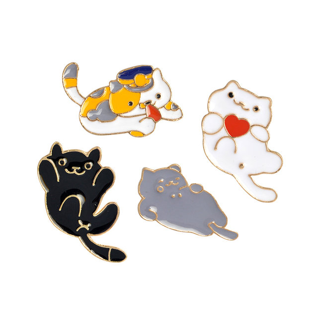 1pcs Metal White Black Gray Cat Kitten Animal Brooch Pins Jacket T-Shirt Dress Collar Lapel Badge Pin Button Fashion Jewelry