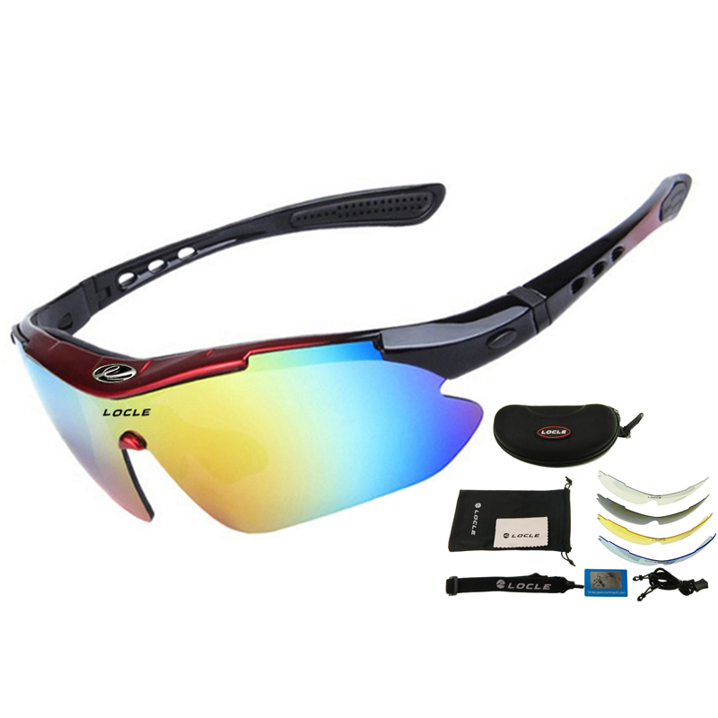LOCLE 5 Lens Hiking Glasses Tactical Polarized Men Shooting Glasses Airsoft Glasses Myopia For Camping Hiking Cycling Sunglasses