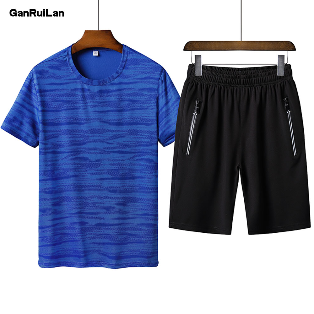 2019 Brand 6XL New Mens Short Sleeve Sportwear Suit Summer Fashion Solid Cool Casual Short Sets Men Leisure Suits TZ19003