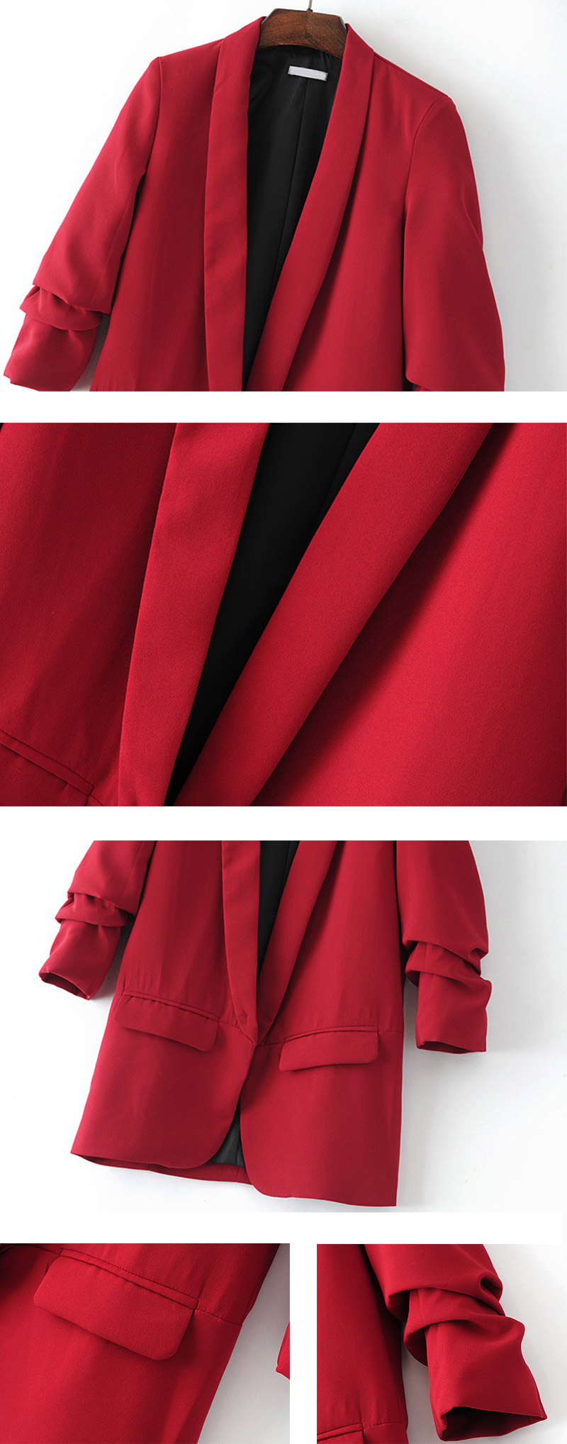 Elegant Red Puff Three Quarter Sleeve Blazer