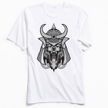 Samurai Cat Men Tshirt Classic T-Shirts Faddish Short Sleeve T Shirt Crewneck Cotton Fabric Tops Skull Tees Japan Style Clothing