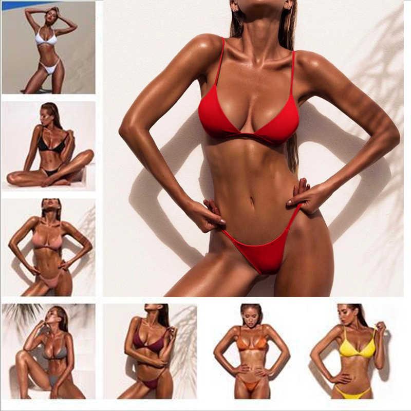 Femmes maillot de bain rembourré Push Up dames Bikini ensemble maillots de bain nager plage porter Bandage imprimé 2018 chaud nouveau col haut Bikinis Monokini