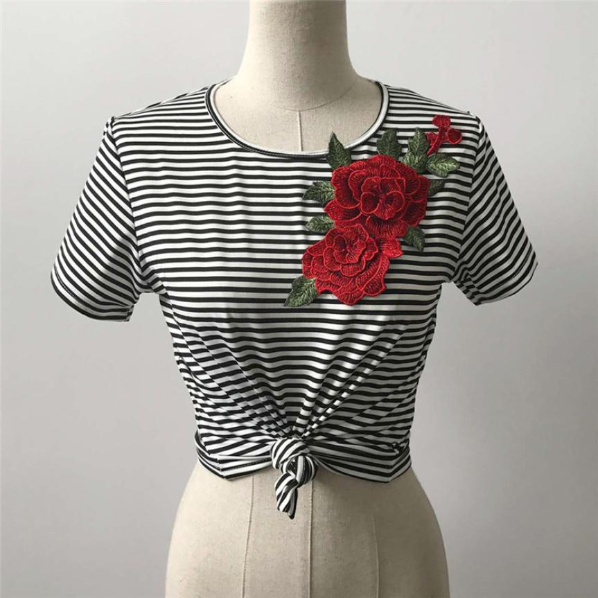 KANCOOLD T-Shirt high quality Sexy Bare Midriff Striated T-Shirt Appliques Rose Short Sleeves Tops T-shirt women JAN29