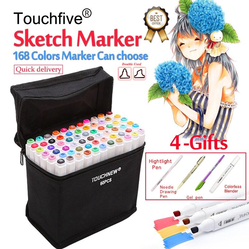 Touchfive 30/40/60/80/168 Colori Art Marker Set A Doppia Testa Marcatori Schizzo Penna Della Spazzola per Disegnare Manga di Progettazione di Animazione Rifornimenti di Arte