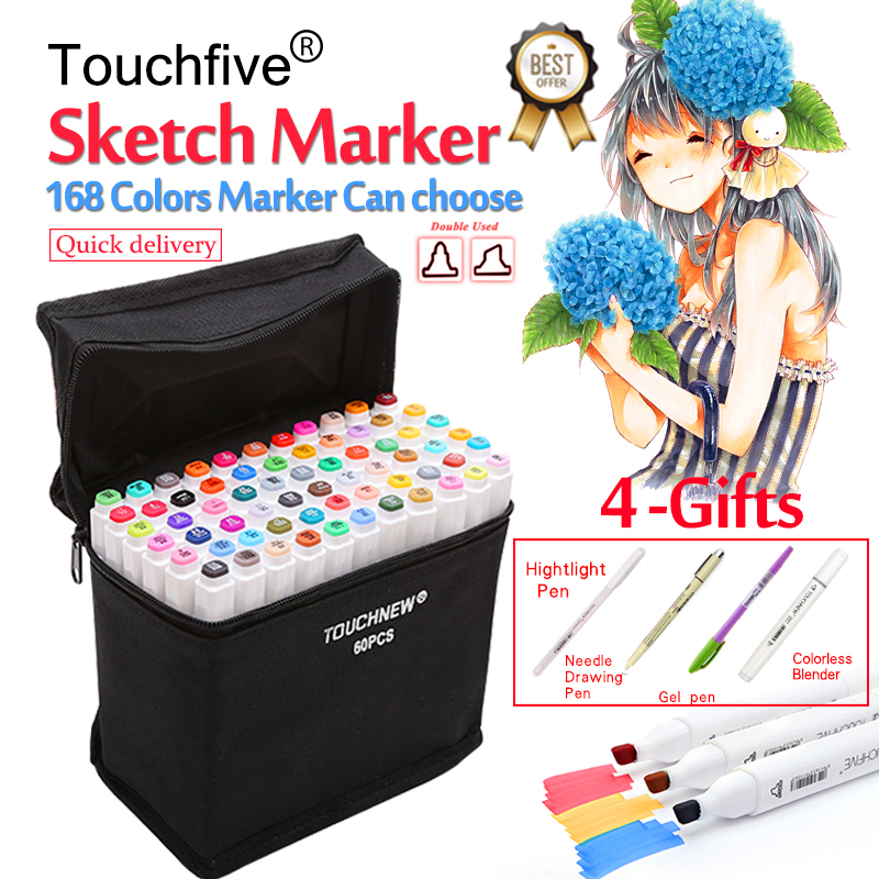 Touchfive 30/40/60/80/168 Colori Penna Marker Set A Doppia Testa Marcatori Schizzo Penna Della Spazzola per Disegnare Manga Animazione Disegno Rifornimenti di Arte